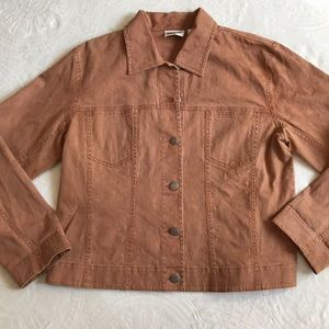 Beautiful Chicos size 1 brown denim jacket